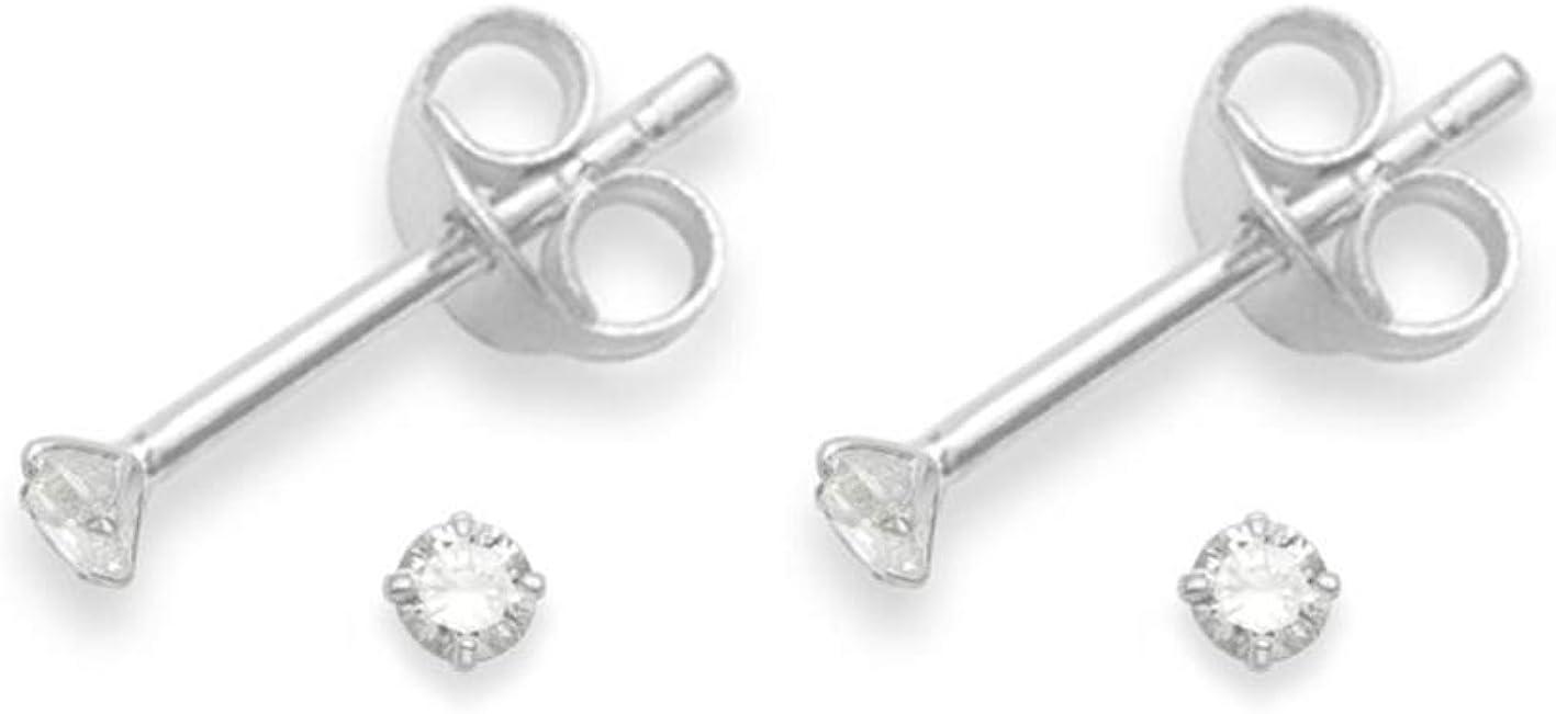 2 pares de plata de verdad circonitas cúbicas pendientes aretes- TAMAÑO: minúsculo 2 mm - muy pequeño y discreto 5549CL en caja de regalo