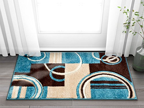 Echo Shapes Circles Blue Brown Modern Geometric Comfy Casual Hand Carved 2x3 (2' x 3') Area Rug Easy to Clean Stain Fade Resistant Abstract Contemporary Thick Soft Plush Living Dining Room Rug