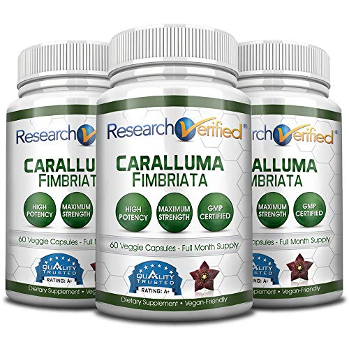 Research Verified Caralluma Fimbriata - Three Month Supply - 100% Pure Natural Caralluma Fimbriata - 1600mg/day - 365 Day 100% Money Back Guarantee - Try Risk Free for Fast and Easy Weight Loss