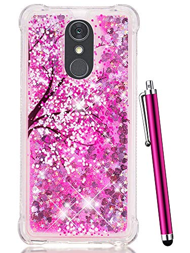 CAIYUNL Case for LG Stylo 4 Case, LG Q Stylus Case, Glitter Bling Liquid Sparkle Shiny Clear TPU Quicksand Women Girls Shockproof Protective Phone Case Design Cute Cover for LG Stylo 4 -Hot Pink Tree ()