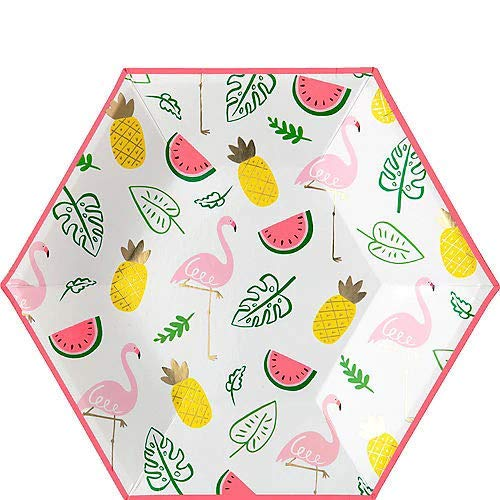 HollyDel Flamingos & Fruit Dinner Plates 8ct Summer Tableware ()