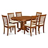 East West Furniture AVML7-SBR-C 7-Piece Dining Table Set For Sale