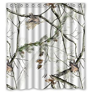 White Realtree Camo Shower Curtain 66 Inch By 72 Inch Painting Waterproof Bathroom  Shower