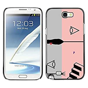 Planetar® ( Pink Abstract Grey Stairs Grey Black ) SAMSUNG Galaxy Note 2 II / N7100 Fundas Cover Cubre Hard Case Cover