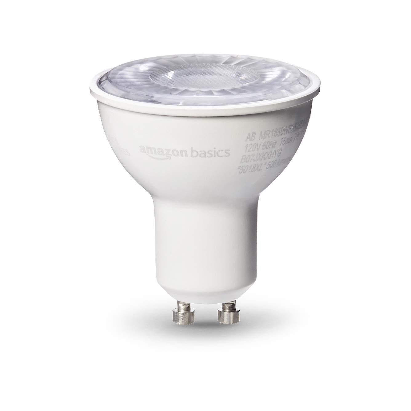 AmazonBasics 50W Equivalent, Daylight, Dimmable, 10,000 Hour Lifetime, MR16 (GU10 Base) LED Light Bulb   6-Pack