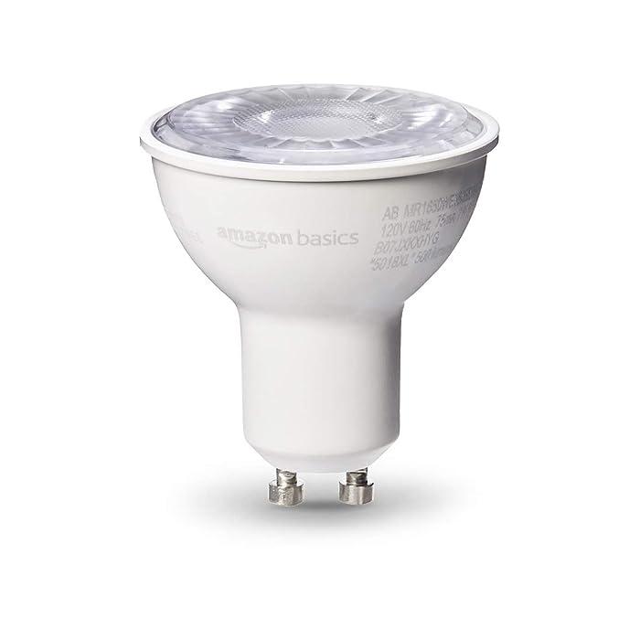 AmazonBasics 50W Equivalent, Daylight, Dimmable, 10,000 Hour Lifetime, MR16 (GU10 Base) LED Light Bulb | 6-Pack