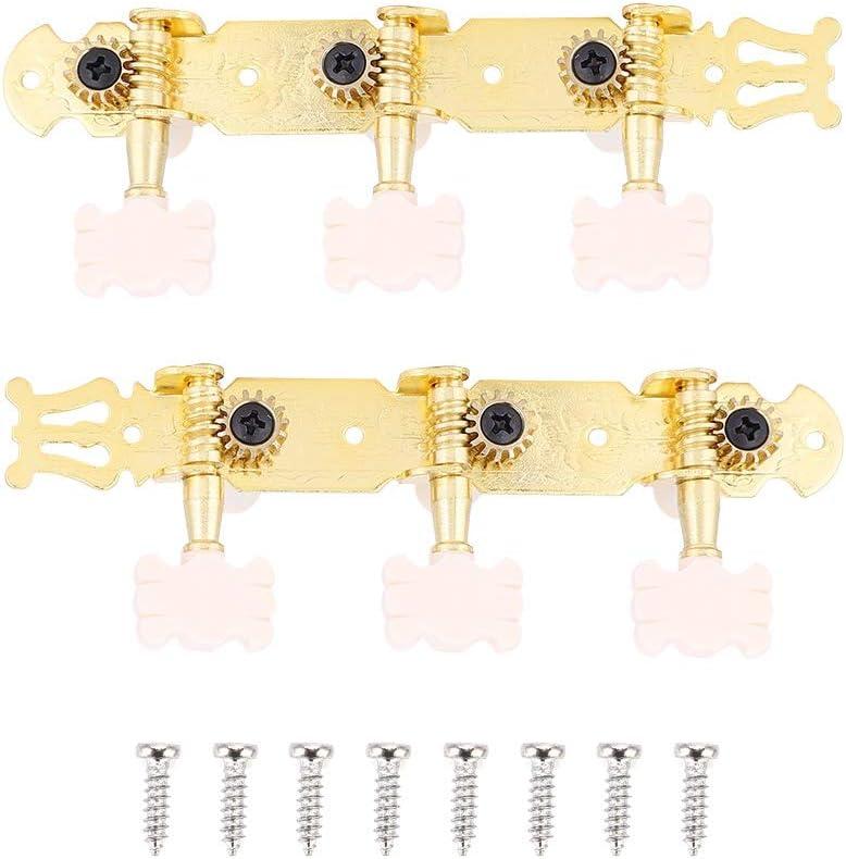 Clavijas de Afinación de Guitarra, 3L3R Clavijas de Afinación de Cuerdas de Guitarra Clásica Afinadores Cabezales de Máquina, Dorado