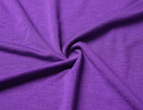 JollieLovin Women's Short Sleeve Loose Fit Flare Hem T Shirt Tunic Top (Deep Purple, XL (1X))