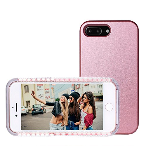 LED Light Up Selfie Case Illuminated Cell Phone Case Cover Rechargeable Power Bright Selfie for iPhone 7 Plus, Rose Gold