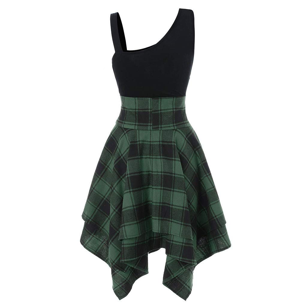 2019 Women's Sleeveless Lace Up Dress Cold Slanted Shoulder Cross Plaid Printed Irregular Stripy Summer Party Dresses (Green, S)