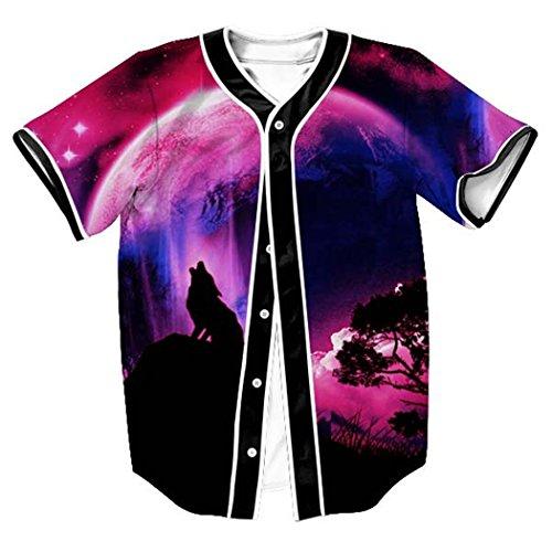 (HOP FASHION Youth Unisex Hipster Baseball Basketball Football Jersey Short Sleeve 3D Colorful Wolf Galaxy Print Dance Team Uniform Button Down Cardigan Shirt HOPM007-64-L)