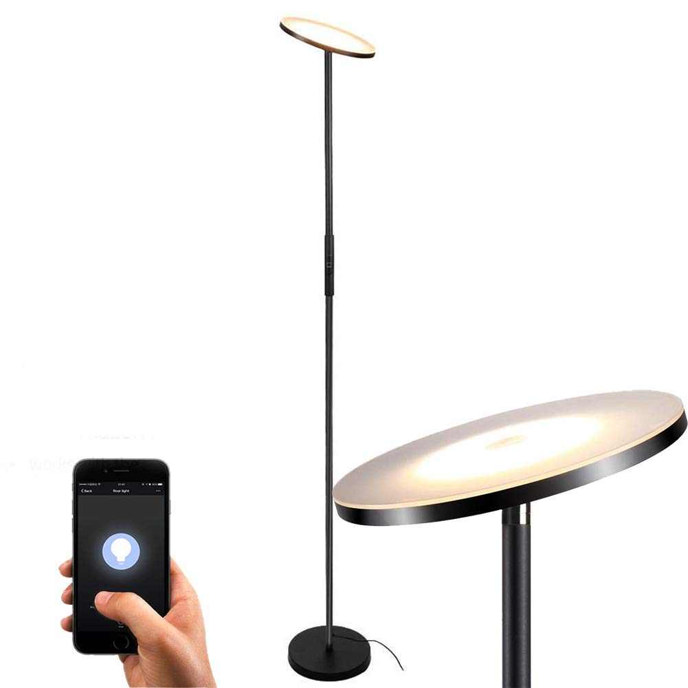 Floor Lamp, Sky LED Torchiere Smart Light,TECKIN Dimmable Standing Light, Torchiere Floor Lamp for Living Room, Bedroom,Office (Compatible with Amazon Alexa Google Home) by TECKIN