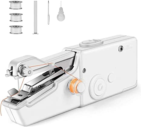 Mini Sewing Machine,Portable Sewing Machine Beginner Electric Handheld Sewing Machine Cordless Quick Handy Stitch Fabric Clothing Kids Cloth Pet Clothes DIY Home//Travel Use