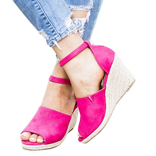 Womens Boho Wedge Sandals Peep Toe Espadrilles Ankle Buckle Straps Platform Cut Out Casual Strappy Dress Shoes (Strap Ankle Toe Wedge)