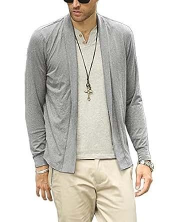 Nidicus Elastic Mens Shawl Collar Open Cardigan