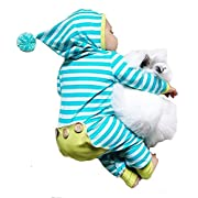 Newborn Baby Boy Girl Long Sleeve Striped Romper Bodysuit Hooded Outfit Clothes
