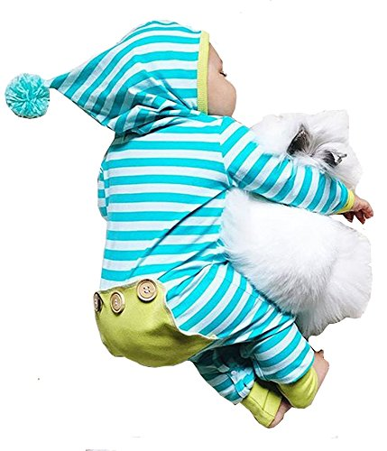 Newborn Baby Boy Girl Long Sleeve Striped Romper Bodysuit Hooded Outfit Clothes (Hooded Romper Newborn compare prices)
