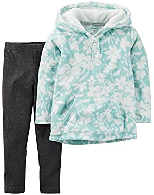 Girl Fleece Pullover Hoodie and Leggings; Turquoise