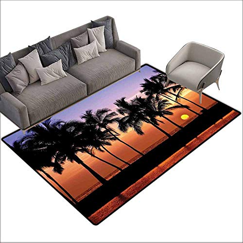 (Floor Entrance Rug Hawaiian Decorations,Hawaiian Sunset on Big Island Anaehoomalu Bay Tropic Horizon Ocean Romantic Resort 80