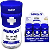 DrinkAde Boost (6 Pack of 3.4 oz Bottles) - Previously Never Too Hungover with Caffeine, Double B-12 -Sugar Free, Gluten Free, Carb Free & Low Calorie.