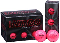 The Nitro Golf Max Distance golf balls have a ultra-reactive titanium core to maximize energy transfer so your shots fly higher and go longer. With the two piece tournament construction insures explosive distance off your metal-woods while pr...