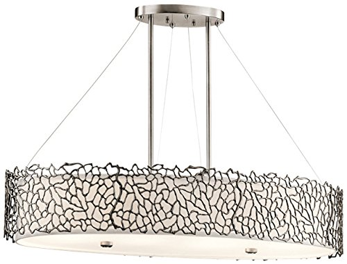 Kichler 43348CLP Silver Coral Oval Chandelier/Pendant 4-Light, Classic Pewter - Oval Pewter Pendant