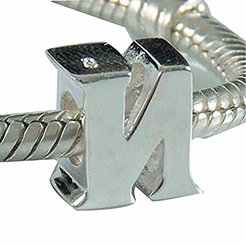 CharmsJewelry Real 925 Sterling Silver Letter Initial A-Z Alphabet Beads for Bracelet Charms (N)