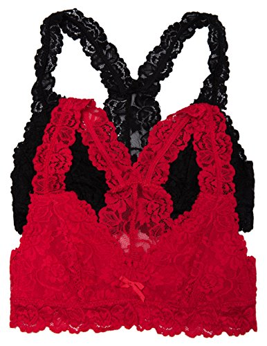 Caramel Cantina 2 Pack Lined Lace Racerback Bralette (Large, Blk/Red)