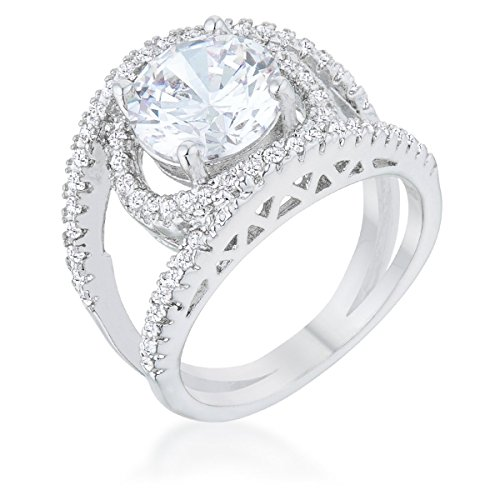 Glam Jewels Marcie 3ct CZ Cubic Zirconia Rhodium Contemporary Fashion Ring for Women Prong Setting - Contemporary Ring Settings