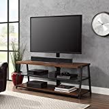 Mainstays 3-in-1 Medium Brown TV Stand for TVs up to 70, Dimensions: 59.75W x 21D x 22-55.75H