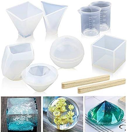 Ddfly Lot de 8 moules en r/ésine pour moulage en r/ésine /époxy avec tasses et b/âtons de bois cubique y compris sph/érique pyramide triangulaire diamant pyramide et moule en forme de pierre