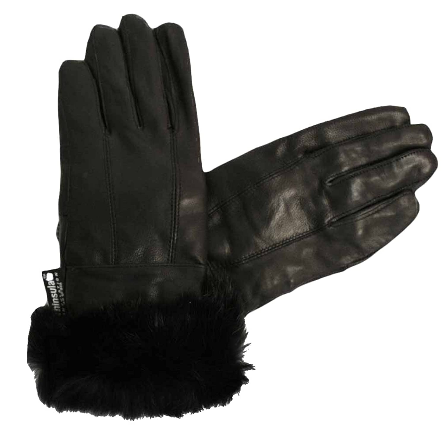 Black leather gloves with fur - Women S Black Soft Leather Gloves With Fur Trim Size Small At Amazon Women S Clothing Store Cold Weather Gloves
