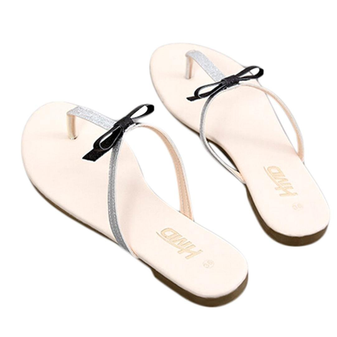 Womail Women Summer Plat Bowknot Slippers Fashion Beach Flipflop Shoes Open Peep-Toe Sandals