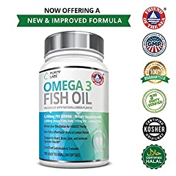 Omega 3 Fish Oil Supplements - 180 Gelcaps for Heart, Joints & Weight Management- 3,000mg Per Serving with 915MG of EPA and 630MG of DHA by Purity Labs