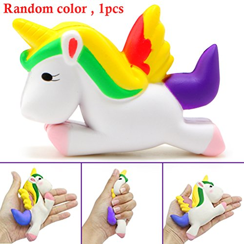Squishy Animal Unicorn, Slow Rising Jumbo Stress Relief Scented Soft for Collection Gifts By Shellvcase ( Random Color 1PC )