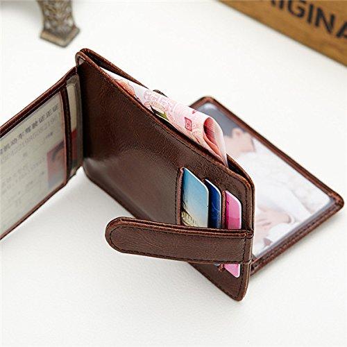 À Monnaie Sac Pochettes TENGGO Femmes De Sacs Cireuse Noir Main Hasp 11 Cartes Portable Short Porte Café Slim wzwqvSZx