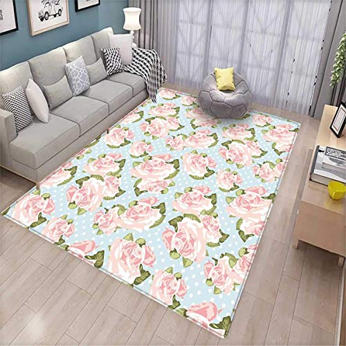 - Shabby Chic Decor Girls Bedroom Rug Artistic English Gardening Plants Antique Victorian Fashion Polka Dots Bath Mats for Floors Multicolor