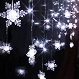 104 Leds 8 Mode 2m X 1m LED Light Snowflake Style Indoor Outdoor Curtain String Lighting Wedding Christmas Xmas Party Holiday New Year Decoration (White)