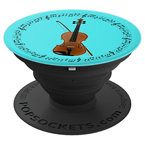 (Violin Player Violinist Gift - Music Notes in Circle - Aqua - PopSockets Grip and Stand for Phones and Tablets )