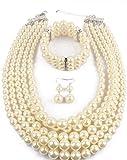 Shineland Elegant Multilayers Simulated Pearl Strand Cluster Collar Bib Choker Costume Jewelry Sets (White)