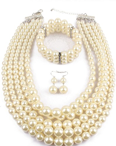 (Shineland Elegant Multilayers Simulated Pearl Strand Cluster Collar Bib Choker Costume Jewelry Sets (White))