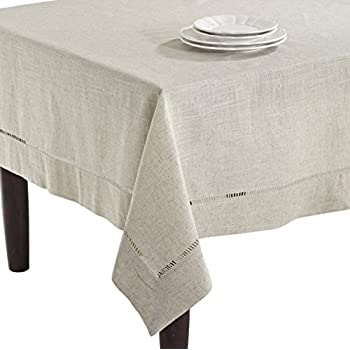 SARO LIFESTYLE 731 Toscana Tablecloths, 80-Inch, Square, Natural