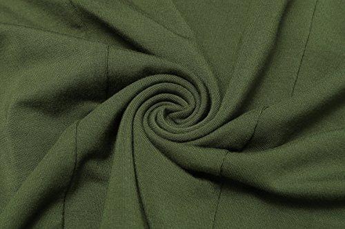 HOTOUCH Mujeres Vestidos Casuales V Cuello Manga Corta Sólida Loose Fit Vestido Ocasional de La Túnica Ejercito Verde