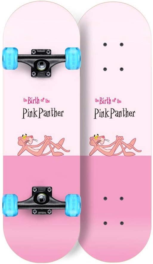 KTYXDE スクーターメイプルロングボードブラシストリートダンスボード四輪ダブルスケートボード初心者ティーンボーイガールプロスケートボード(フラッシュホイール付き) (Color : A) A