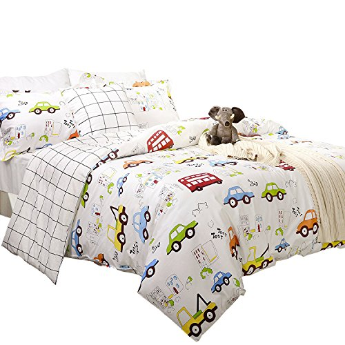 Brandream Kids Boys Bedding Cars Vehicles Duvet Cover Set 3-Piece Twin Size (No Comforter Included) by Brandream