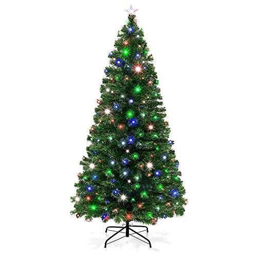 VEIKOU Artificial Christmas Tree Pre-Lit Fiber Optic Premium Spruce Hinged Tree, LED Lights & Metal Stand, UL-Certified Transformer (7 FT, 280 Branch Tips) (Fiber 7 Ft Tree Optic)