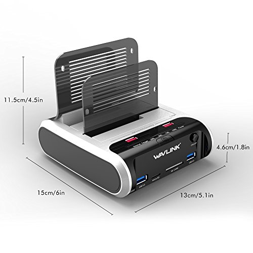 """WAVLINK USB 3.0 to SATA Dual Bay Hard Drive Docking Station with Offline Clone Function for 2.5""""/3.5"""" SATA HDD SSD, Support Fast Charger and TF & SD Card (2X 10TB) by WAVLINK (Image #4)"""