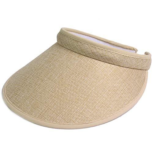 Summer Beach Sun Visor Ladies Straw Wide Brim Sun Hat Cap Girl Kids Hats Women Caps Chapeau Paille Femme Sun Hat for Women,Beige,47-50cm