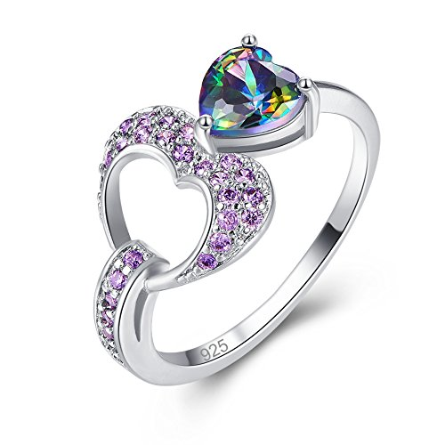 Veunora Ladies' 925 Sterling Silver Created 6x6mm Heart Cut Rainbow Topaz Filled Gift Ring Size 9