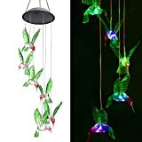 ZOUTOG Solar String Lights, Color Changing LED Mobile Hummingbird Wind Chimes, Waterproof Outdoor Solar Lights for Home/Yard / Patio/Garden